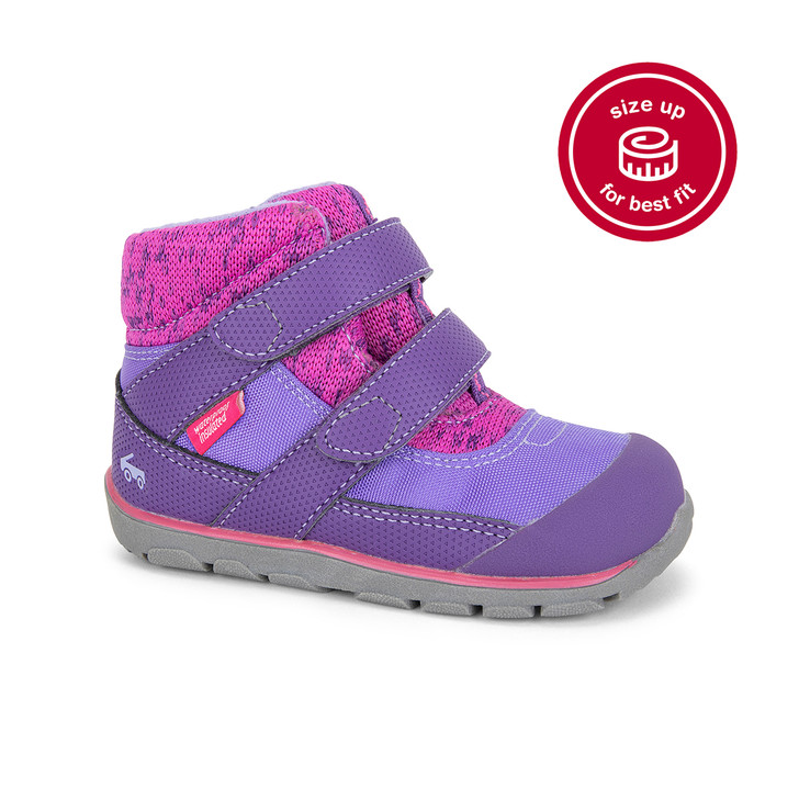 Front-Right Side view of Atlas Waterproof/Insulated Purple/Hot Pink Boot