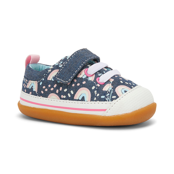Front-Right Side view of Stevie (First Walker) Chambray/Rainbows shoe