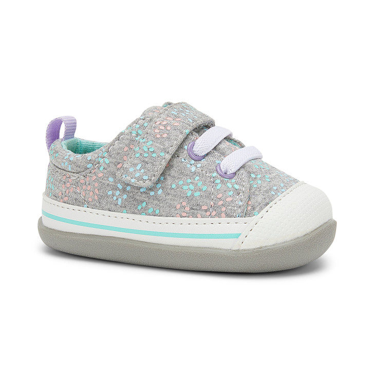 Front-Right Side view of Stevie (First Walker) Gray/Sprinkles shoe