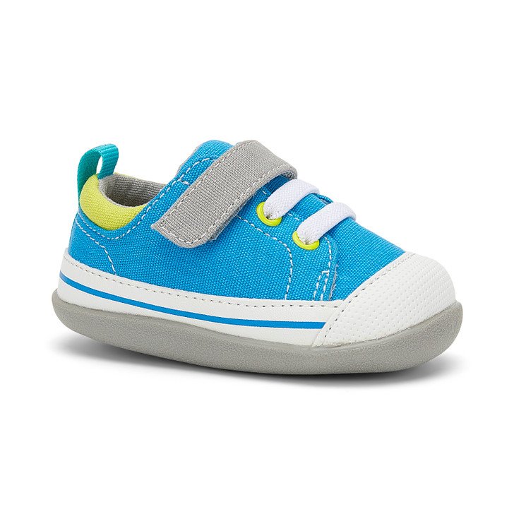 Front-Right Side view of Stevie (First Walker) Electric Blue shoe