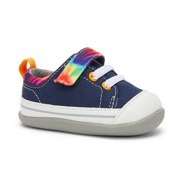 Front-Right Side view of Stevie (First Walker) Navy/Tie Dye shoe