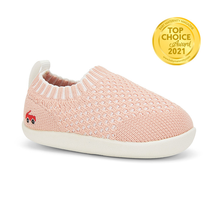 Front-Right Side view of Baby Knit (First Walker) Pink shoe
