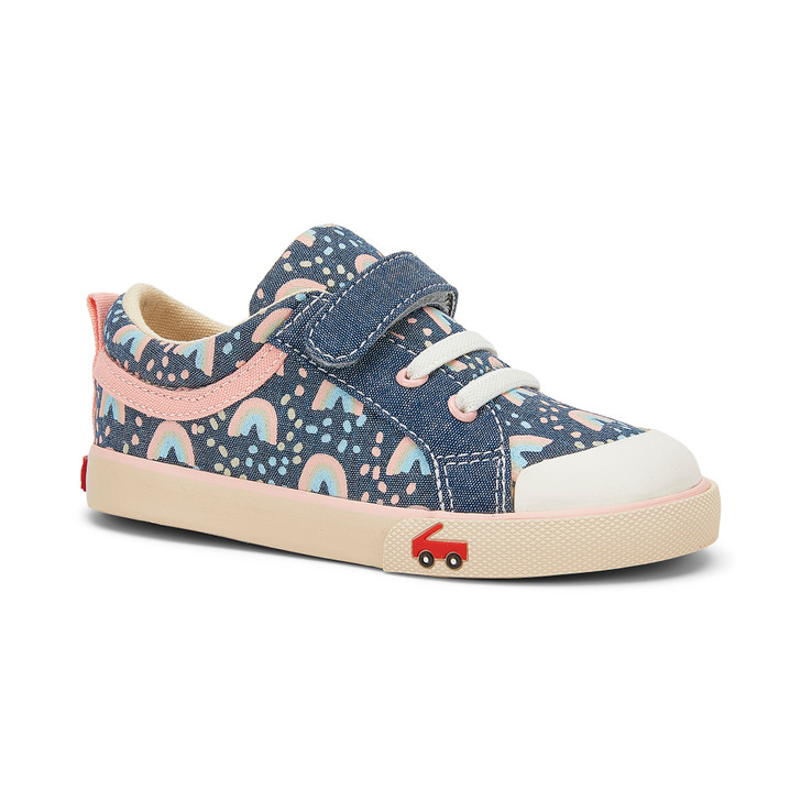 Front-Right Side view of the Kristin Chambray/Rainbows shoe
