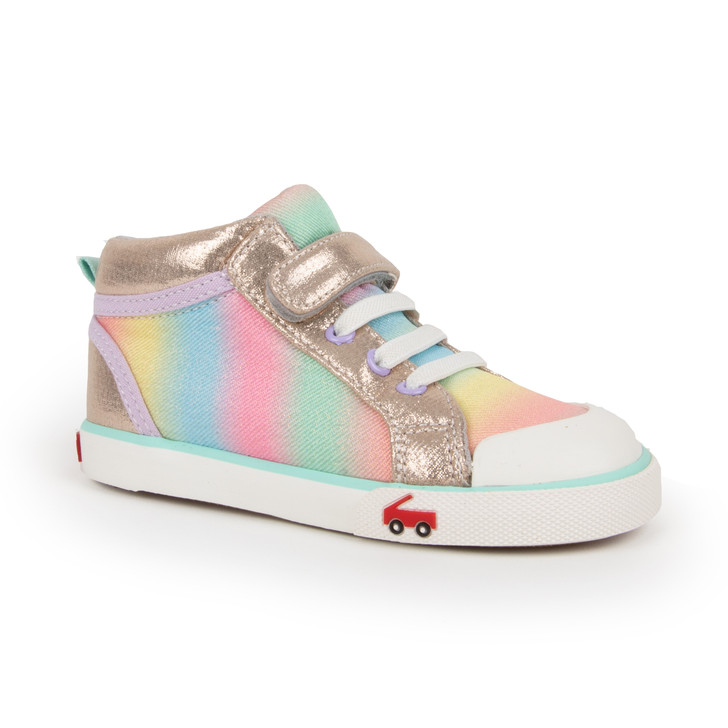 Front-Right Side view of the Peyton Gold Rainbow shoe