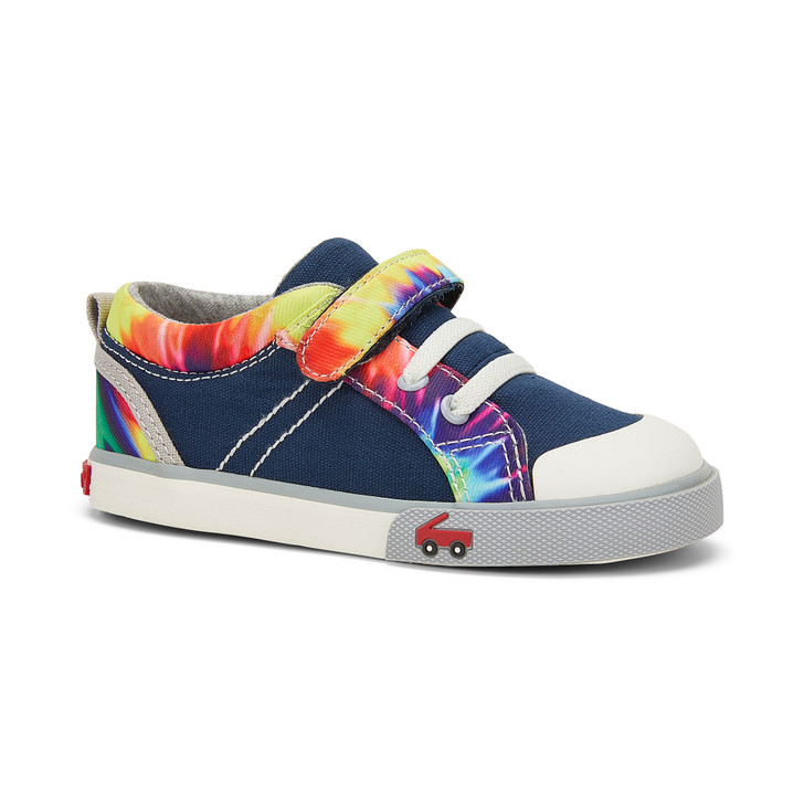 Front-Right Side view of Tanner Navy/Tie Dye shoe