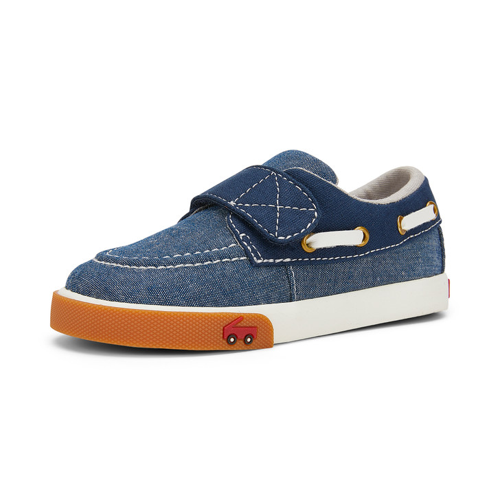 Left Side view of Elias Navy Canvas Shoe