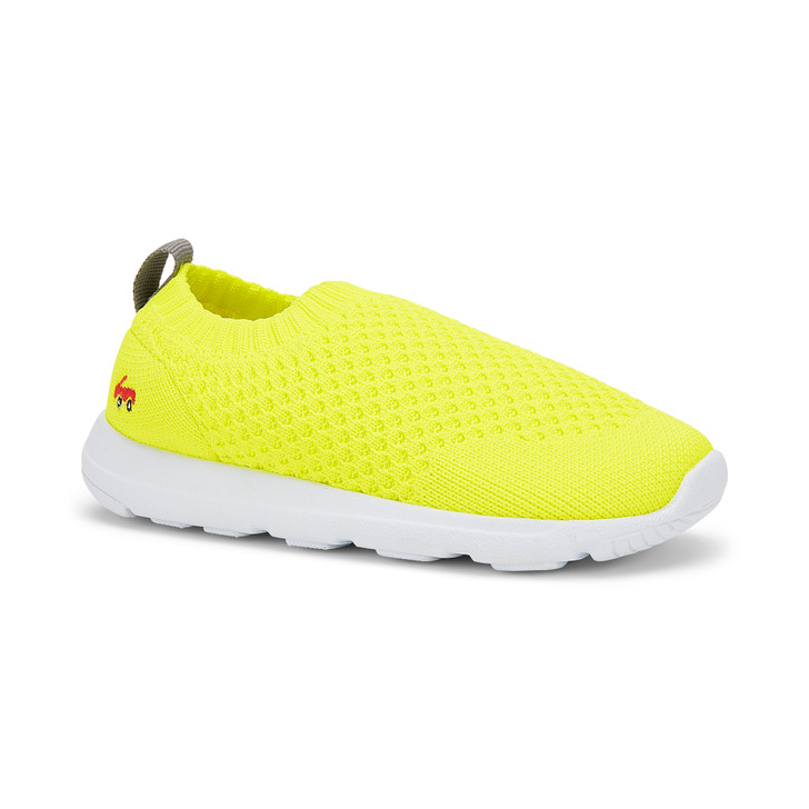 Front-Right Side view of the Ryder Knit FlexiRun Neon shoe