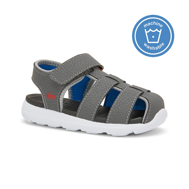Front-Right Side view of the Cyrus FlexiRun Gray sandal