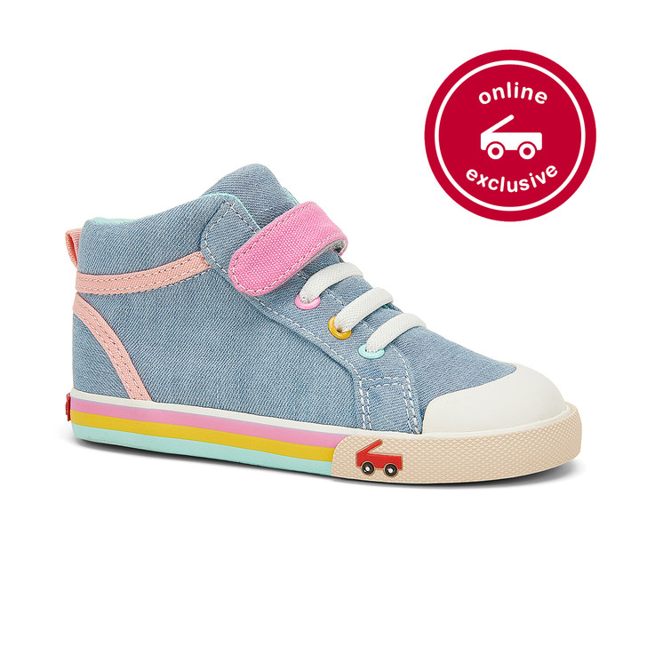 Front-Right Side view of the Peyton Light Blue Chambray shoe