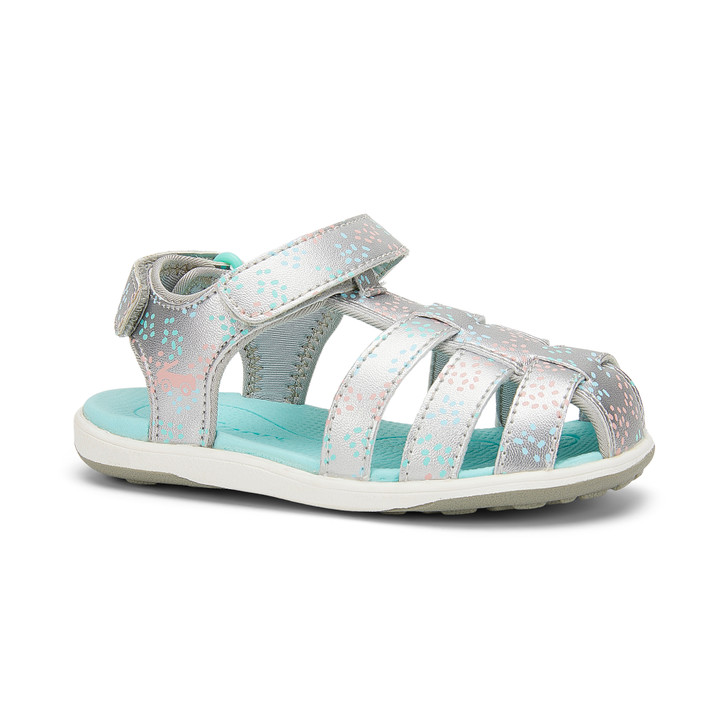 Front-Right Side view of the Paley Silver/Sprinkles sandal