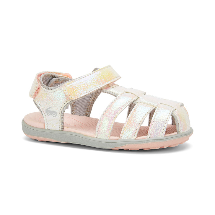 Front-Right Side view of the Paley White Shimmer sandal
