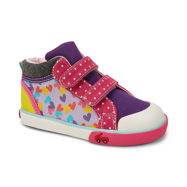 Front-Right Side view of the Kya Purple/Hearts Mix shoe