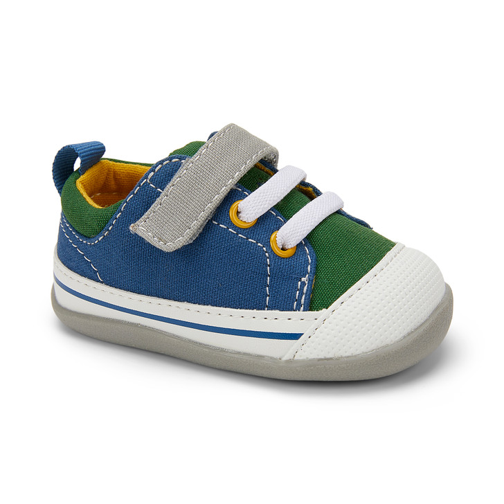 Front-Right Side view of Stevie II (First Walker) Blue/Green shoe