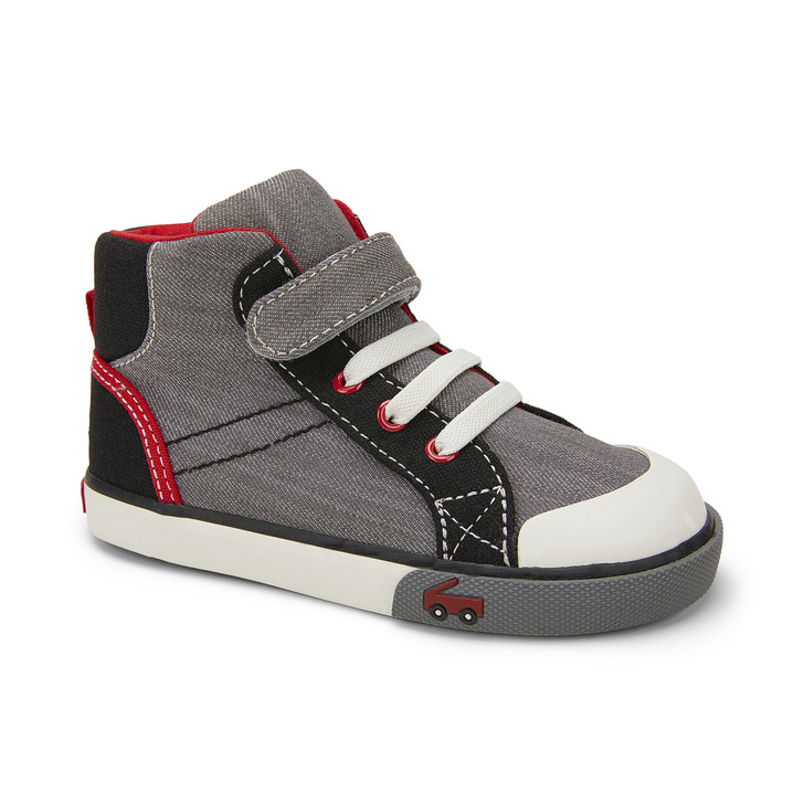 Front-Right Side view of the Dane Gray Denim/Black shoe