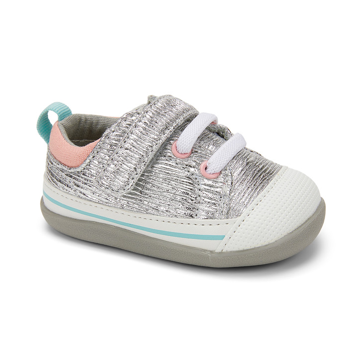 Front-Right Side view of Stevie II (First Walker) Silver Shine shoe