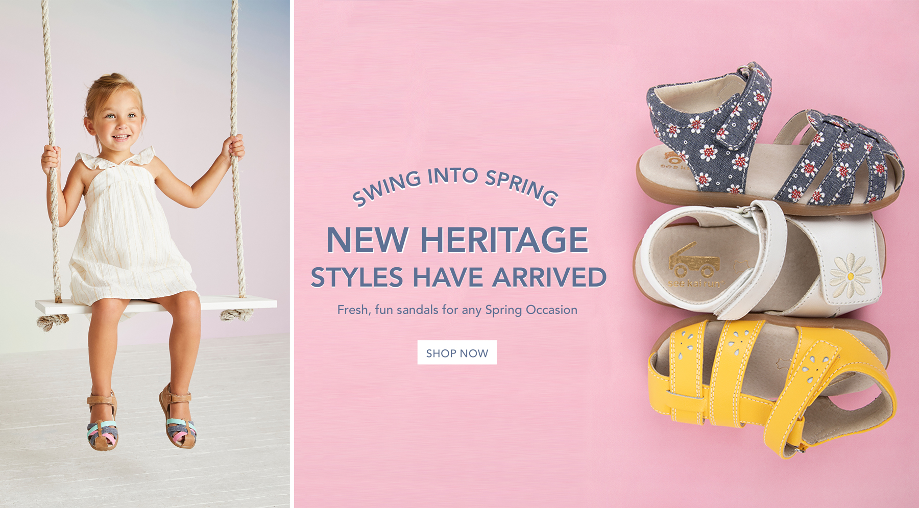 Swing into springe. New Heritage styles have arrived. Fresh, fun sandals for any spring occasion. Shop now.