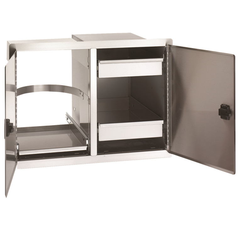 Double Doors with Trash Tray & Dual Drawers