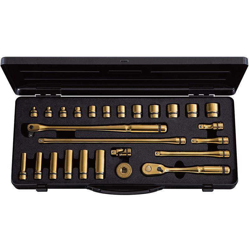 "nepros 3/8"" Artisan iP Gold 90-Tooth Ratchet & Socket Set (NTB3X26AZGL) PRE-ORDER"