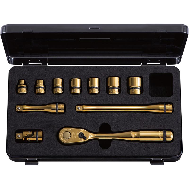 "nepros 3/8"" Artisan iP Gold 90-Tooth Ratchet & Socket Set (NTB311AZGL) PRE-ORDER"