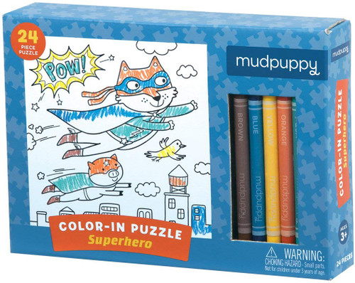 Color-in Puzzle Superhero