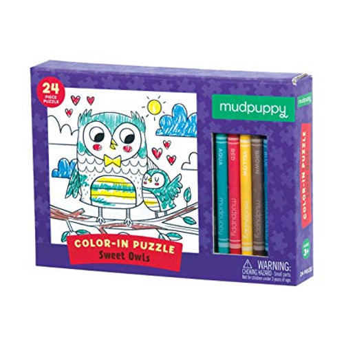 Color-in Puzzle Sweet Owls