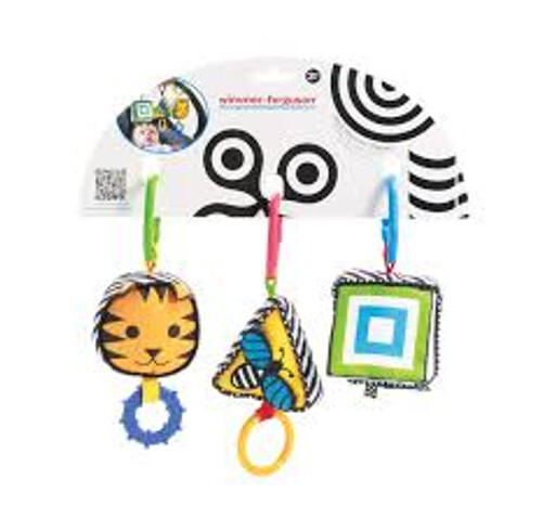 Wimmer-Ferguson Clip and Discover Shapes The Clip and Discover Shapes is a set of 3 baby sensory toys packed full of auditory, visual and tactile sensory features. With multiple teethers, a fun little squeaker, crinkle paper, and a jiggle pull, this baby toy set has something for every baby!