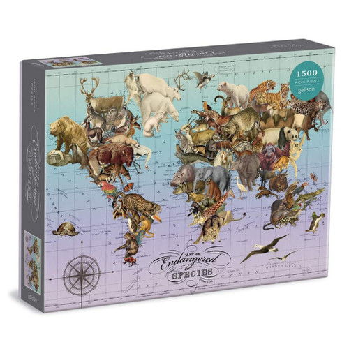 1500 Piece Puzzle Map Of Endangered Species