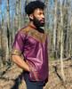 Short Sleeve Men's Collared Shirt with Dashiki Designs Burgundy