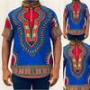 Collared Short Sleeve Shirt Blue Addis Ababa Print