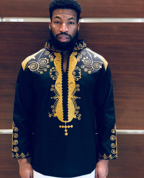 Long Sleeve Embroidered Shirt Black/Gold