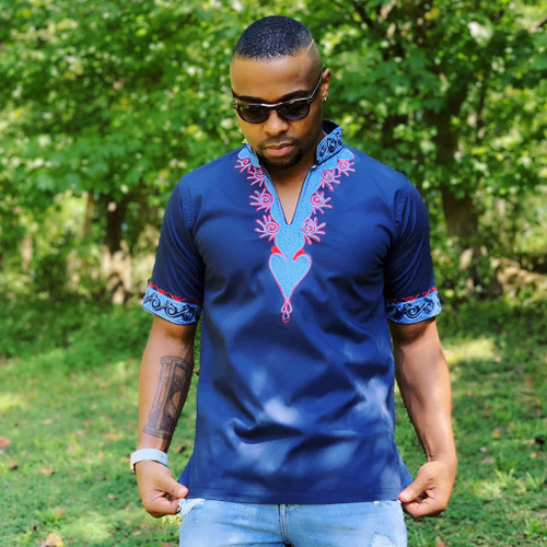 Collared Embroidered Short Sleeve Shirt Blue