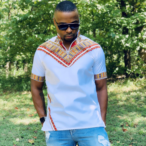 Short Sleeve Men's Collared Shirt with Dashiki Designs White