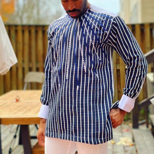 The Mix Embroidered Faso Dan Fani Shirt White/Blue