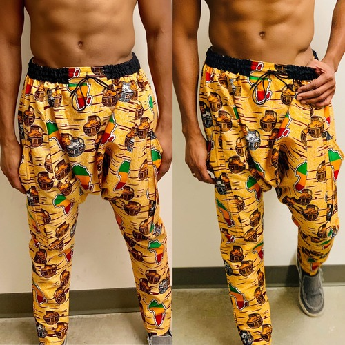 Drop Crotch Orange Pants Africa Map Prints