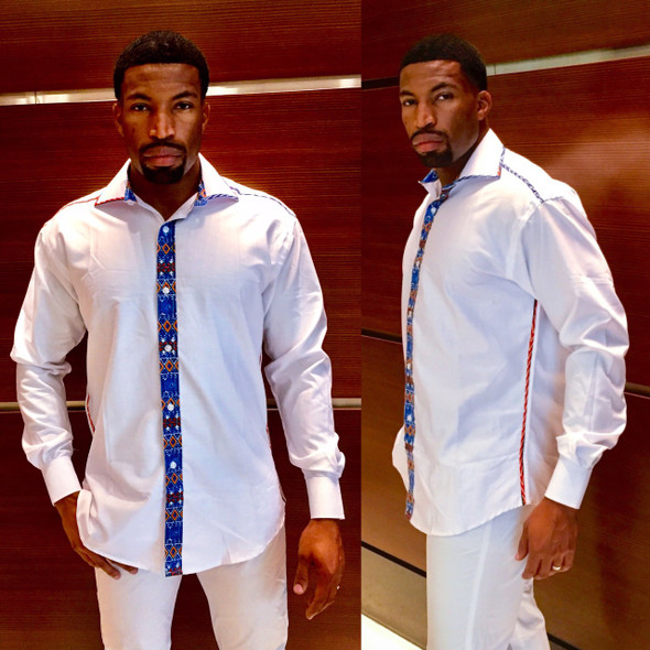 Men's Dress Shirt with Dashiki Design Slim Fit