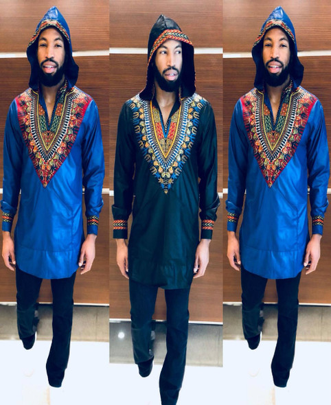 Men's Hooded Long Sleeve Shirt Dashiki Designs