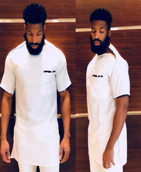 The Short Sleeve Zipper Shoulder Shirt White
