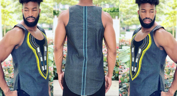 The Fitted Side Zipper Long-line Tank Top Grey/Yellow