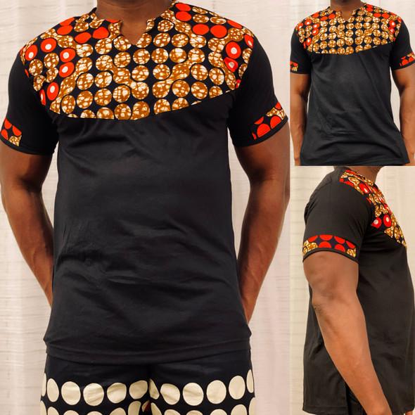 T-Shirt Ankara Prints Black (CLEARANCE)