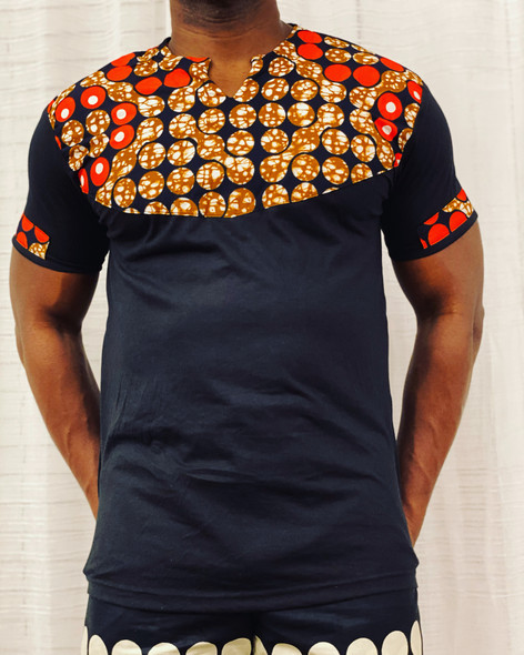 T-Shirt Ankara Prints Black
