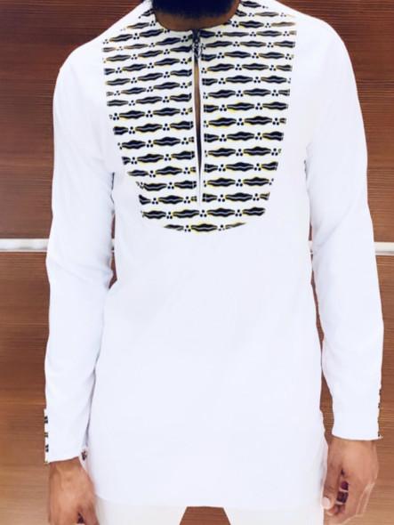 Long Shirt Ankara Prints White