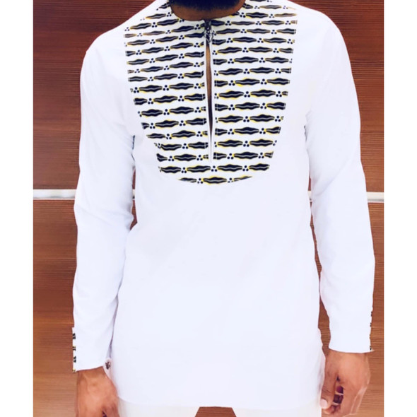 Long Shirt Ankara Prints White