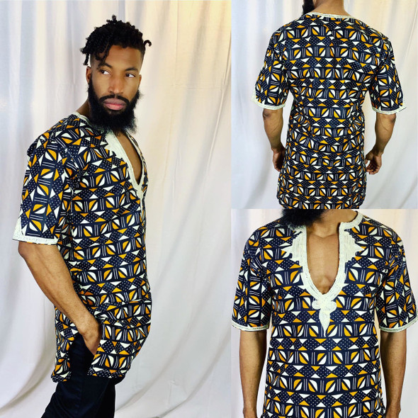 The Embroidered Long Shirt with African Coris Designs