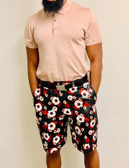 African Ankara Garden Prints Shorts Black/Red