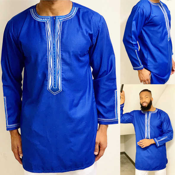 The Embroidered Mini Boubou Blue