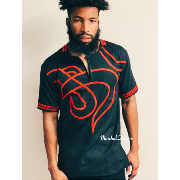 Embroidered Short Sleeve Shirt Black