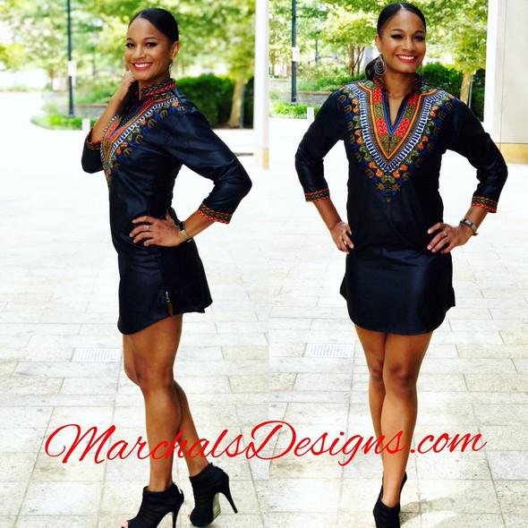 Women's Three-Quater-Sleeve Mini Dress Black