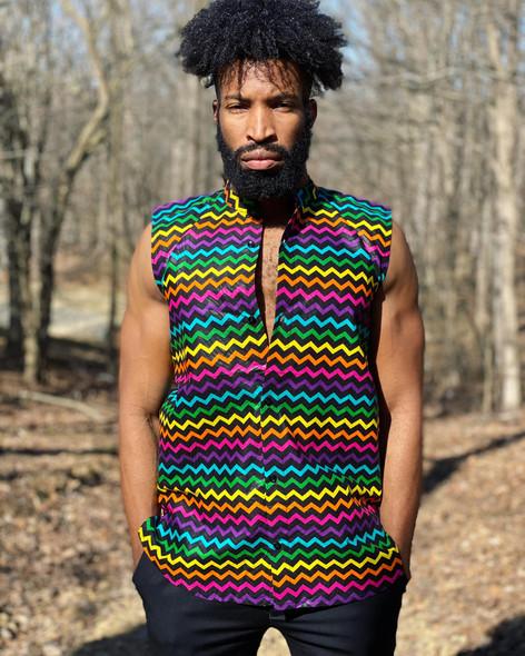Men's Colored Ankara Sleeveless Shirt (CLEARANCE)