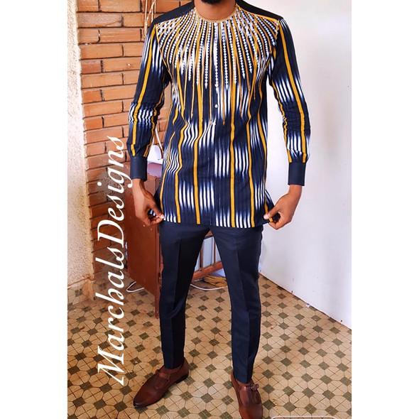 The Mix Embroidered Faso Dan Fani Shirt Black/Gold