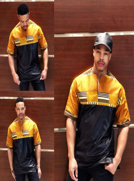 The Short Sleeve Kente Cloth Shirt Gold/Black